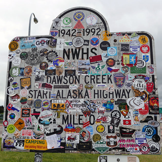 Start des Alaska Highways in Dawson Creek, British Columbia